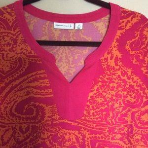 Susan Graver liquid knit split neck top